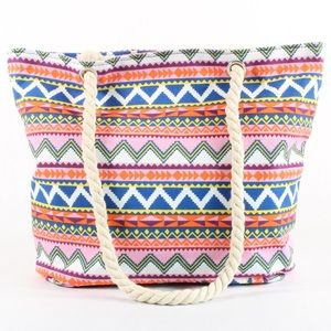 Handbags - Womens Tote Canvas Printed Rope Handle Bag Pink